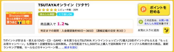 ハピタスのTSUTAYAオンラインショッピング