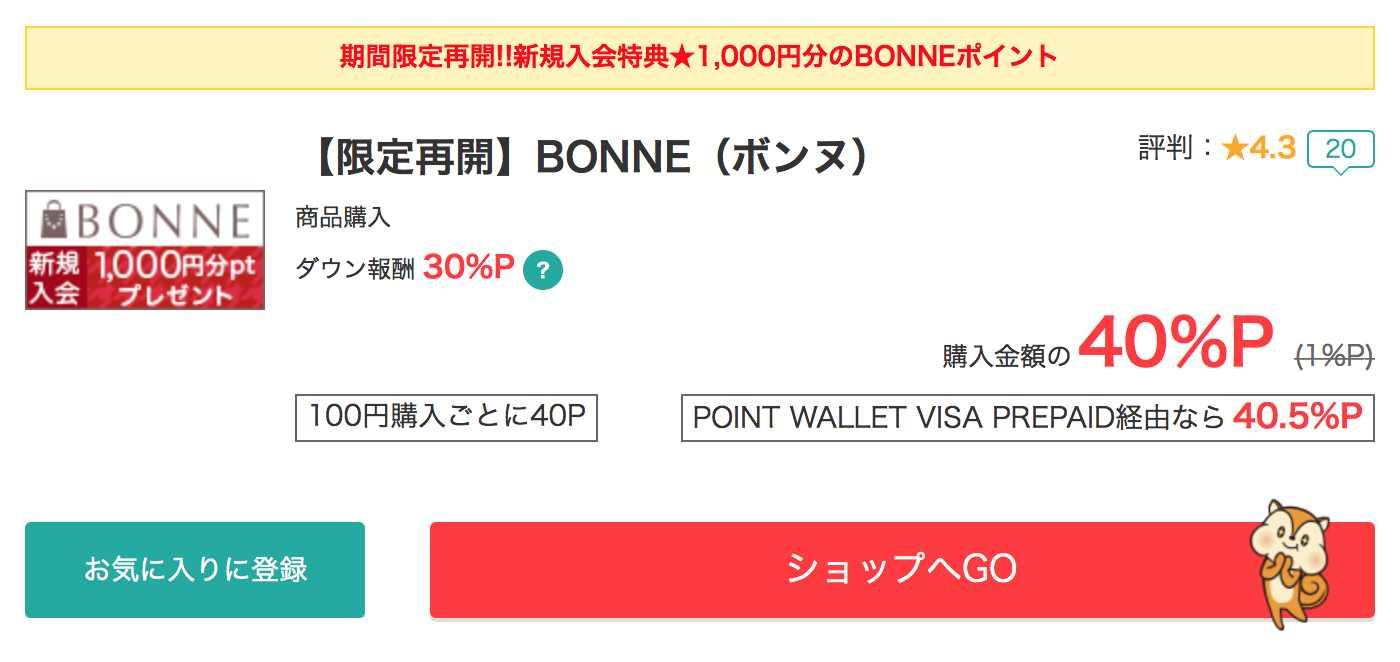 BONNEは40%ポイントバック