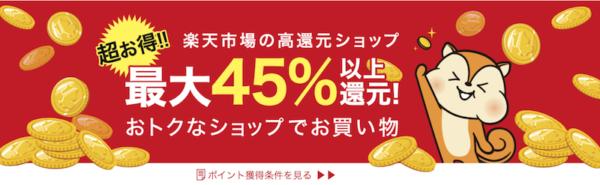 お小遣いサイトの楽天市場で最大45%還元