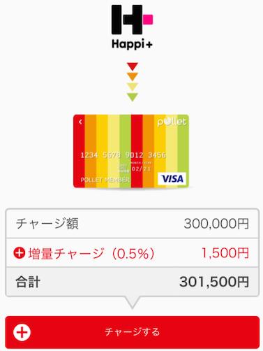 ハピタスからポレットへ毎月30万円チャージできる