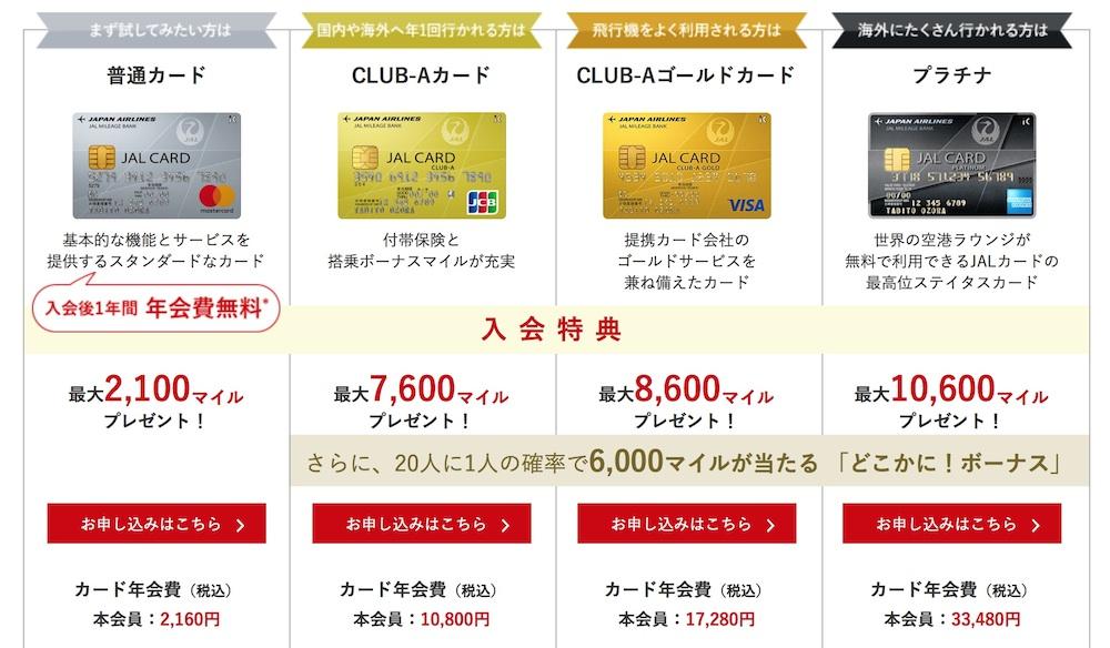 JALカード入会キャンペーンのボーナスマイル特典