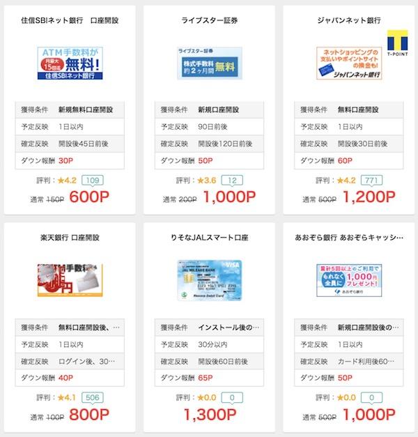 お小遣いサイト経由の無料銀行口座開設できる一覧表