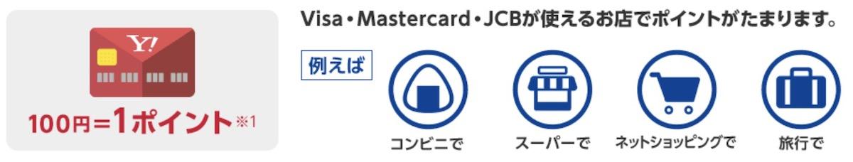 yahoo!Japanカードの還元率は1% 100円1Tポイント