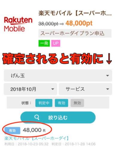 ポイントサイト(げん玉)の楽天モバイルの獲得ポイント48,000P