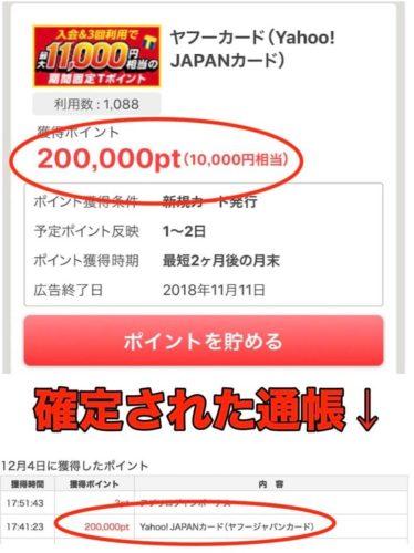 ポイントタウン経由Yahoo!Japanカードの実際の確定ポイント(1万円相当)