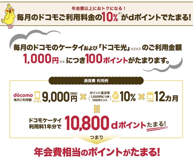 dカードゴールド10%ポイント還元
