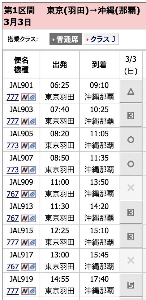 JAL国内特典航空券羽田沖縄の予約画面1