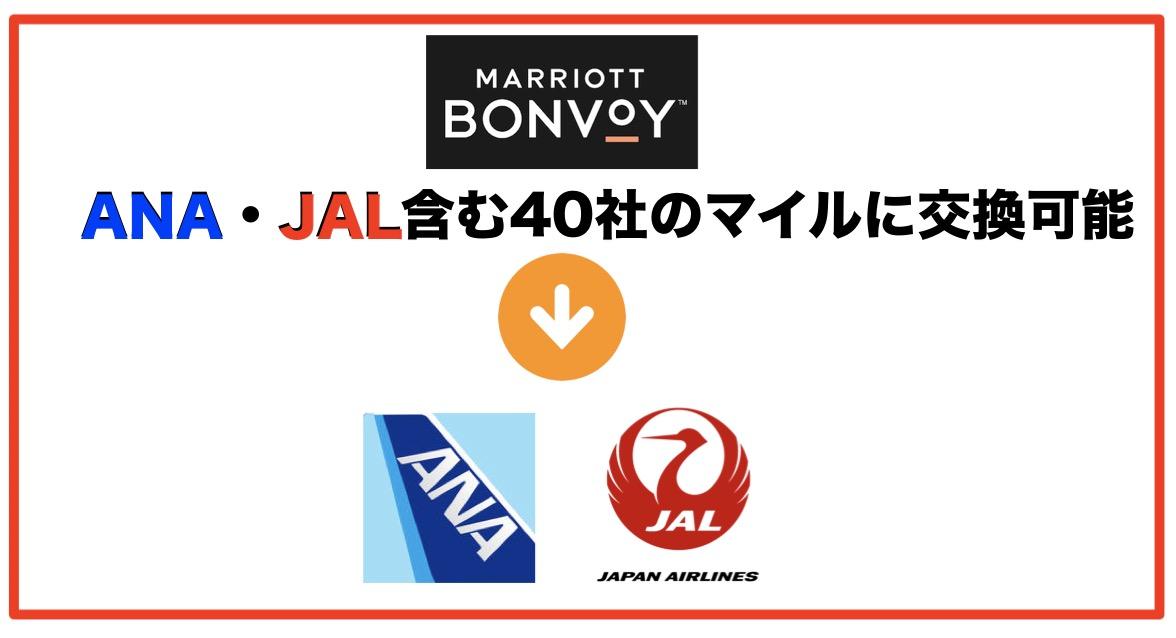 マリオットボンヴォイポイントはANA・JALマイルに交換可能