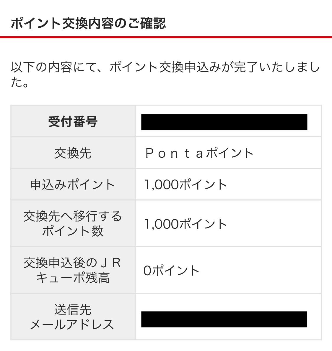 JRキューポポイントをPontaポイントに交換する手順~申請完了確認画面