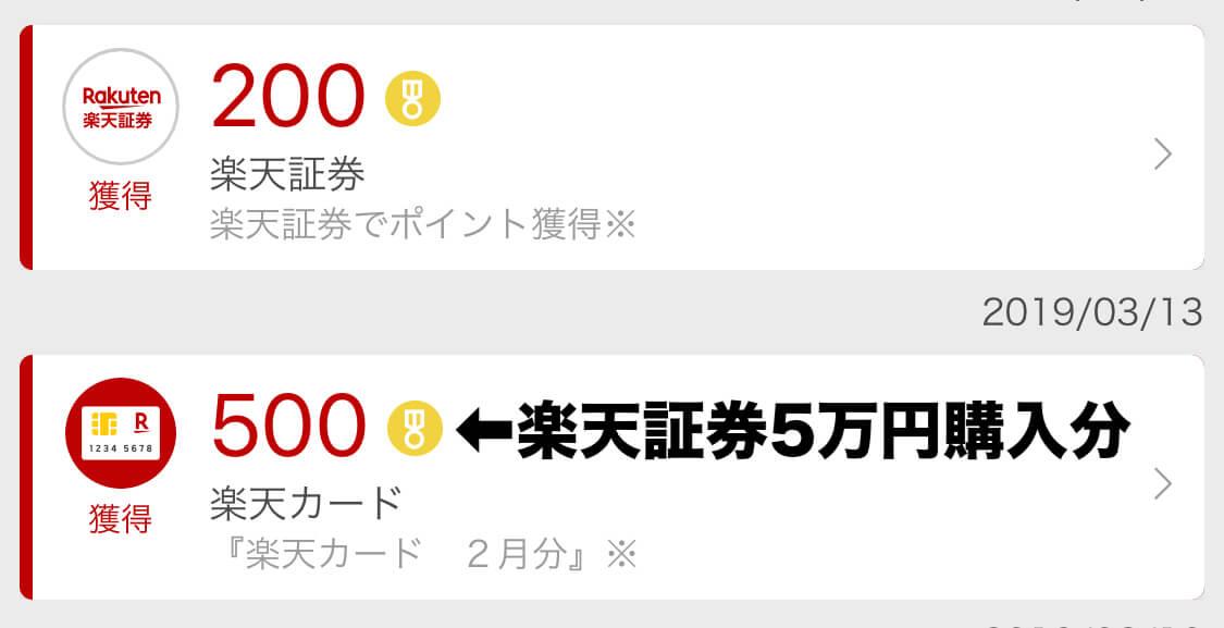 楽天カードで5万円投信積立で獲得した楽天ポイント