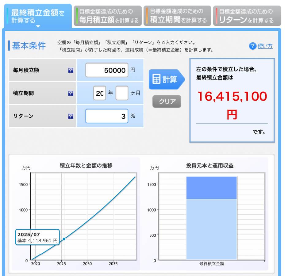 楽天証券シュミレーションリターン3%1000万円