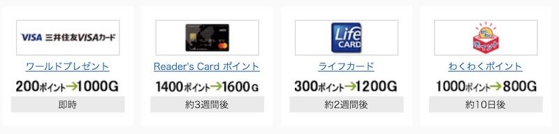 Gポイントに交換できるクレジットカードのポイント