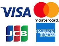 VISA、MasterCard、AMEX、JCBのロゴ