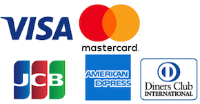 VISA、MasterCard、AMEX、JCB、ダイナースのロゴ