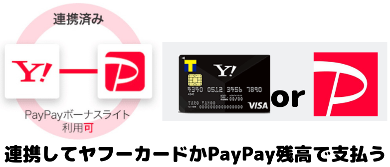 PayPay連携してヤフーカードまたはPayPay残高で支払う