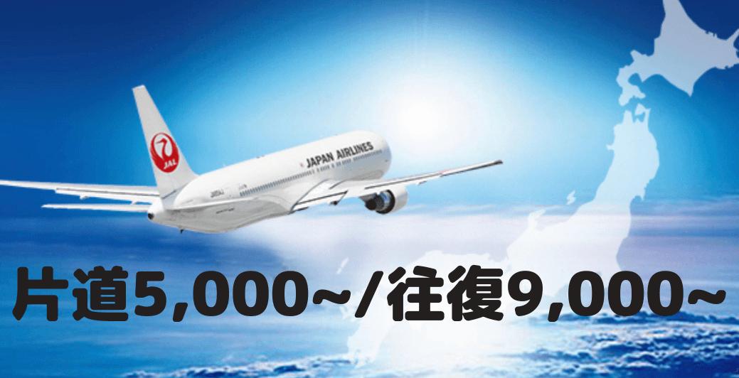 JAL国内特典航空券の必要マイルは5,000~