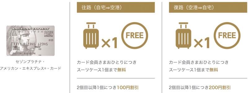 セゾンプラチナアメックスの手荷物無料宅配サービス