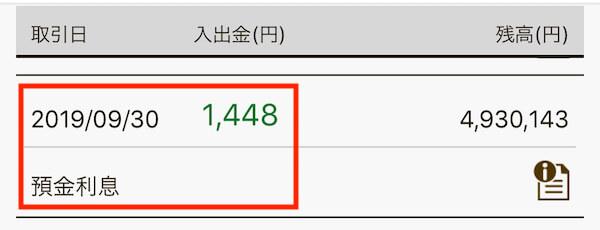 楽天銀行の預金利息2019年3月は1000円