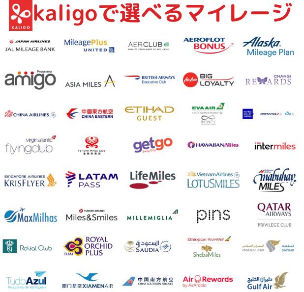 kaligoで選択できるマイレージプログラム