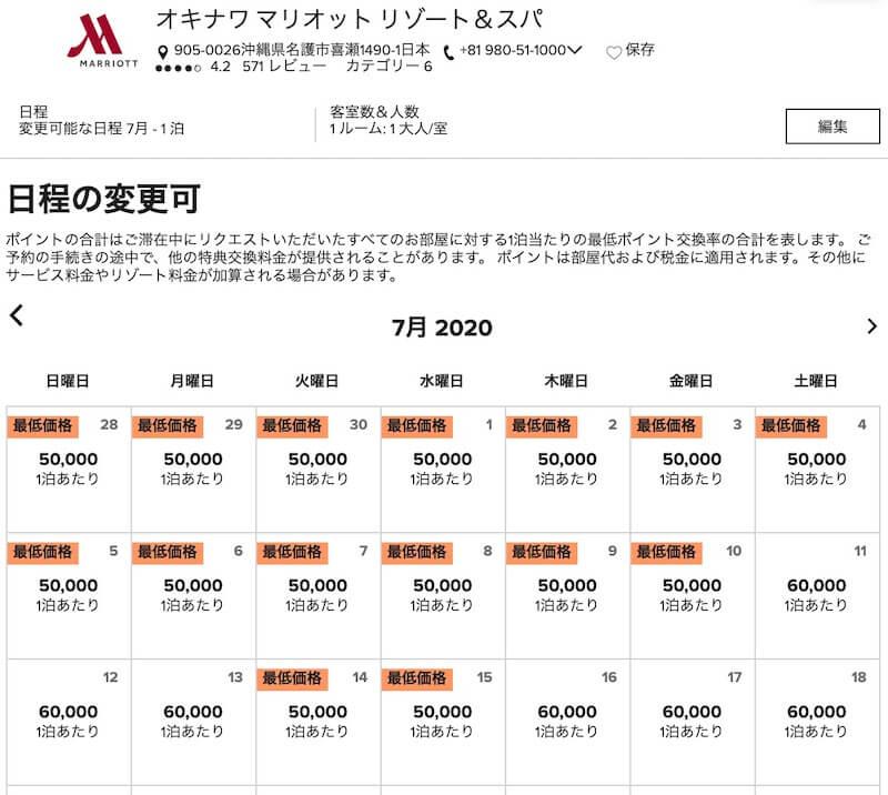沖縄マリオット無料宿泊特典が使える日