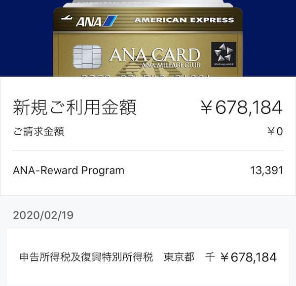 ANAアメックス ゴールドで所得税