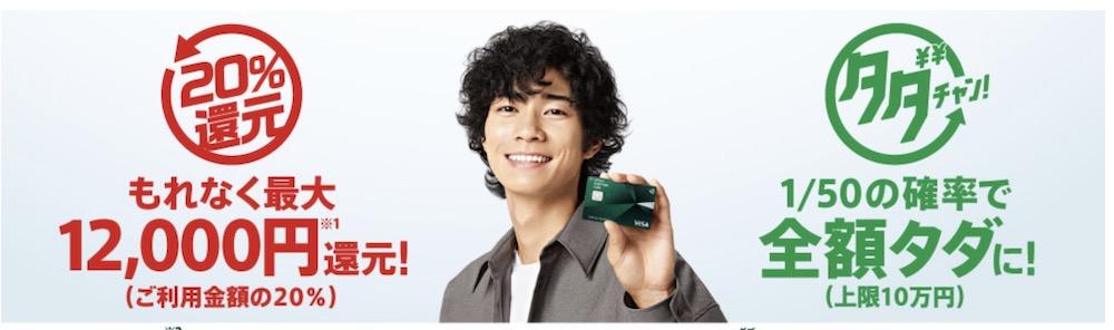 三井住友カード20%キャッシュバックキャンペーン