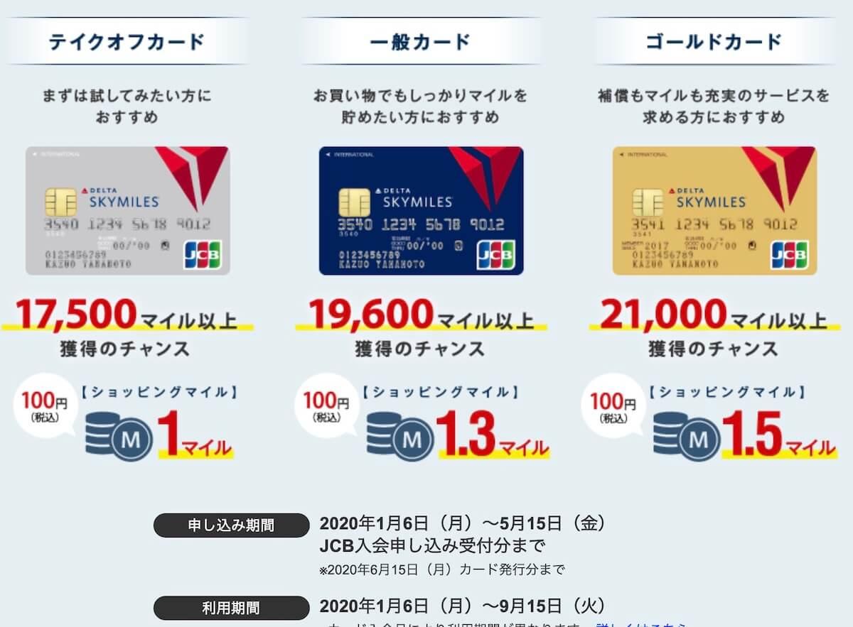 デルタスカイマイルJCBカードの新規入会キャンペーン