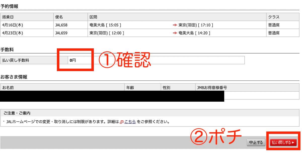 コロナ対策JAL特典航空券変更方法7