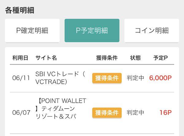 SBIVCトレード通帳反映6,000P