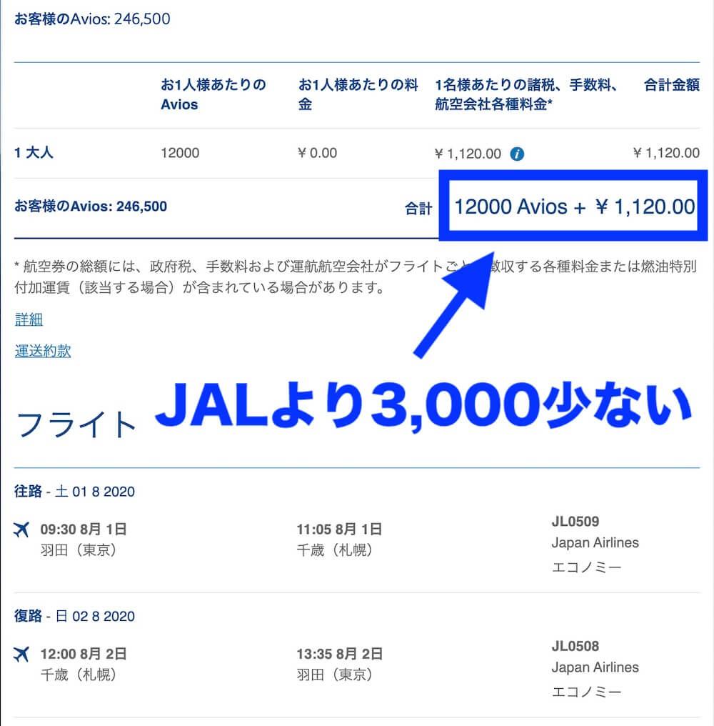 アビオス特典航空券羽田ー札幌往復