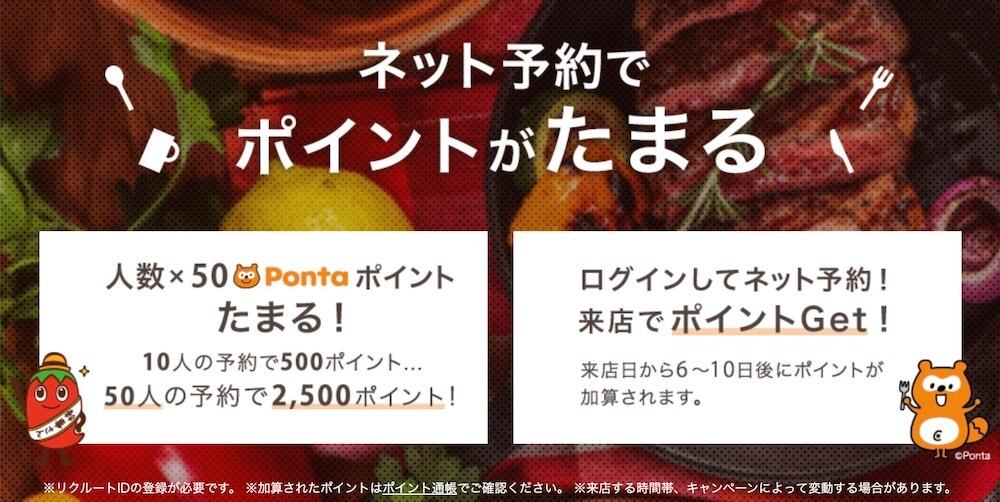ホットペッパーは予約来店人数×50Pontapoint