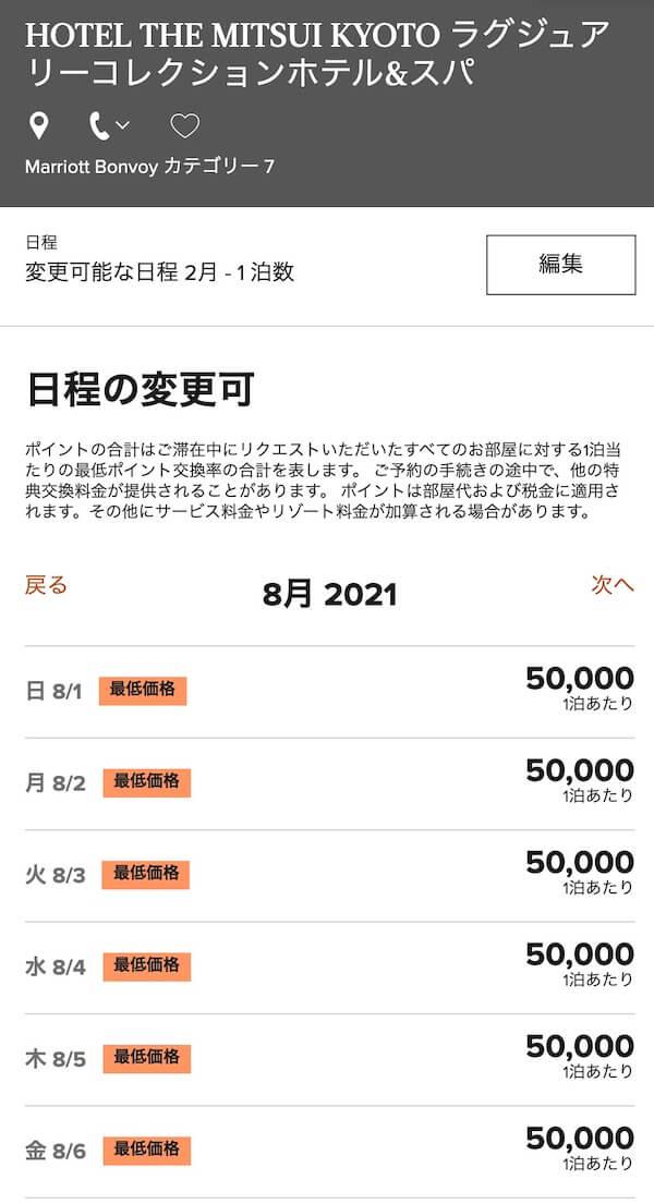 ホテルザ三井京都で無料宿泊特典が使える日