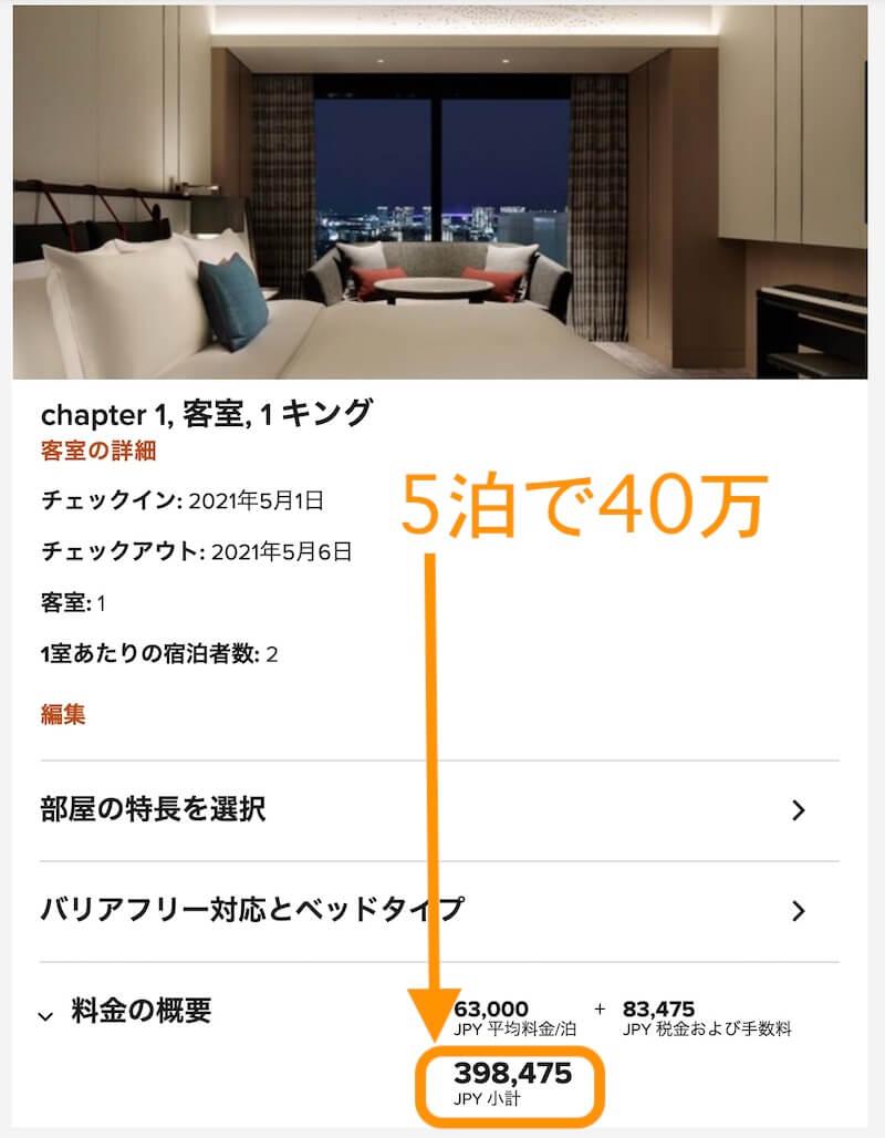 メズム東京5泊40万円