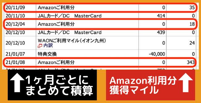 Amazon利用分で獲得したJALマイル