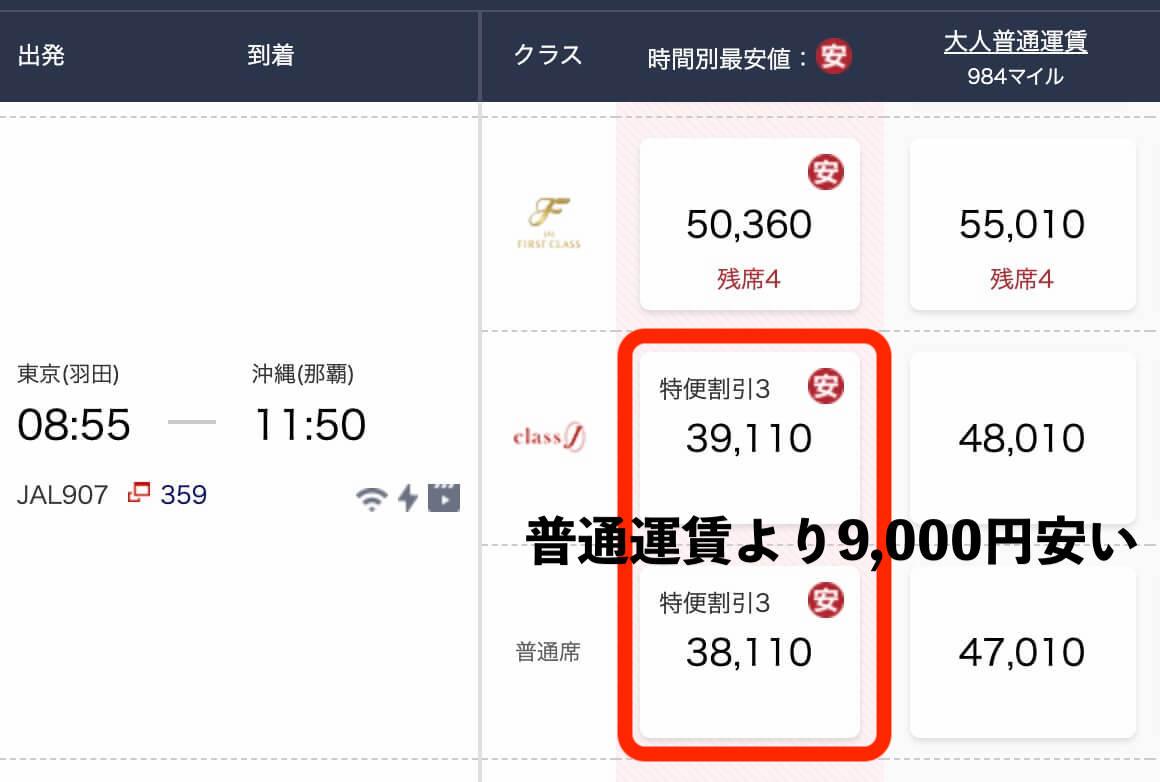 羽田沖縄特便と普通運賃比較