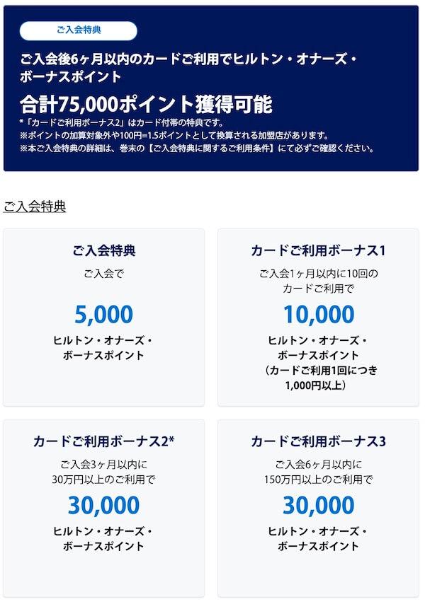 ヒルトンアメックスプレミアムの新規入会キャンペーン特典は75,000ポイント