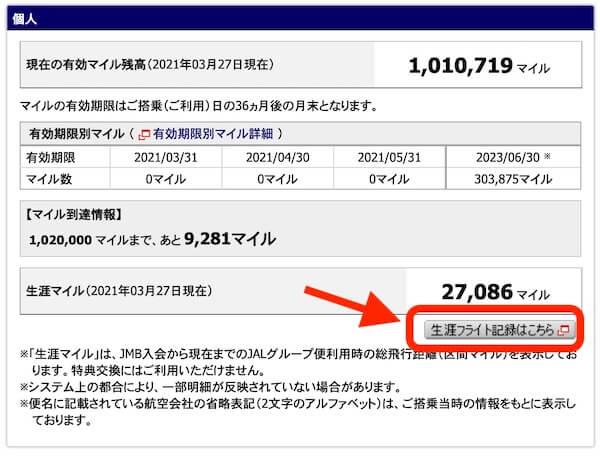 JALの生涯フライト記録