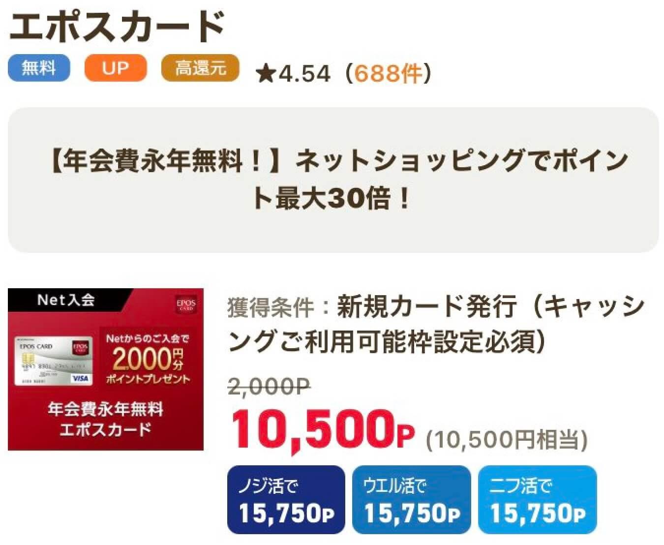 ライフメディアのエポスカード1万円越え