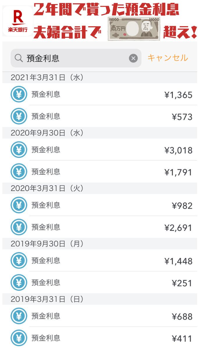 楽天銀行から2年間で受け取った普通預金金利は1万円以上