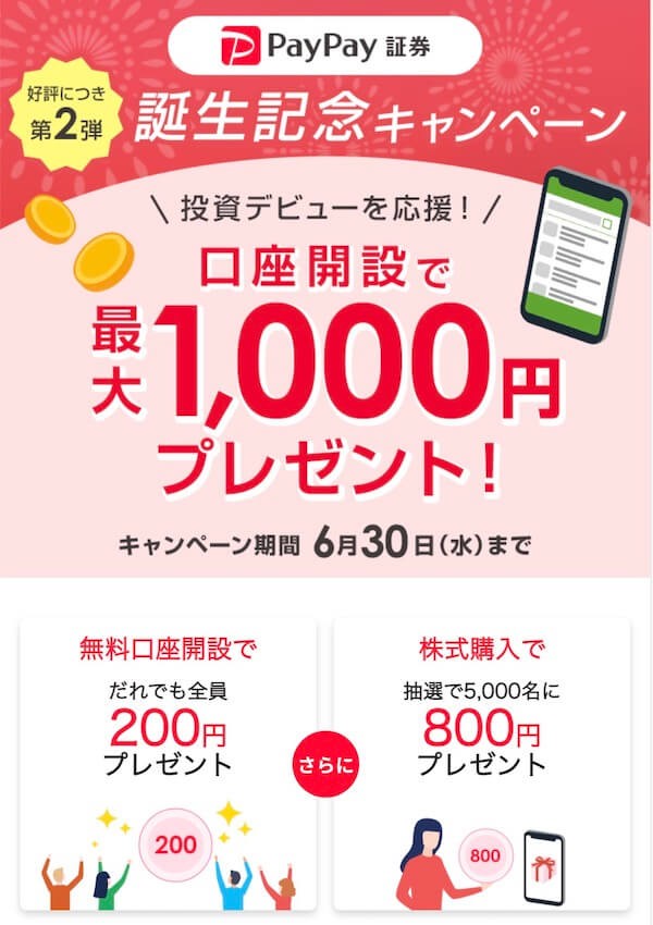 PayPay証券新規口座開設で最大1,000円