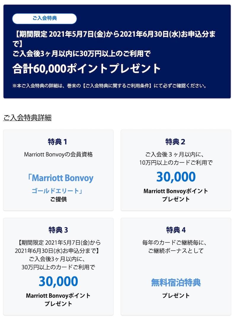 SPGアメックス30万円の利用で60,000P